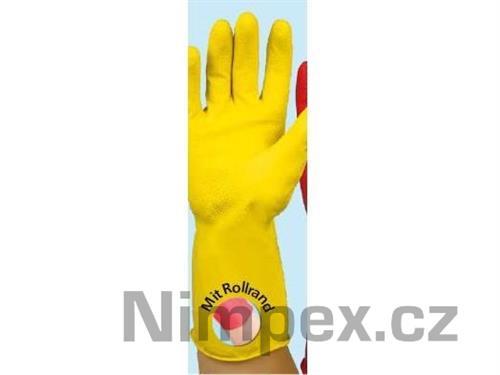 Rukavice gumové PRIMA semišované, žluté