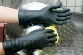 Rukavice gumové technické Meridian 300/0,65 černé